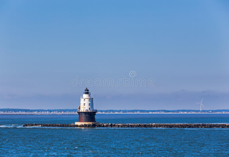 Harbor of Refuge Light Lighthouse in Delaware Bay. Harbor of Refuge Light Lighthouse in the Delaware Bay at Cape Henlopen. It was originally named Harbor of royalty free stock photography