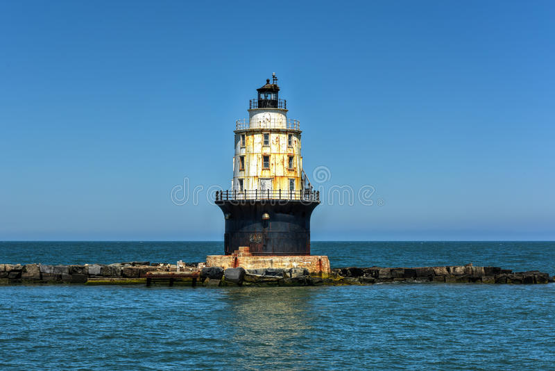 Harbor of Refuge Light Lighthouse. In the Delaware Bay at Cape Henlopen. It was originally named Harbor of Refuge West End Light when first completed in 1969 stock photos