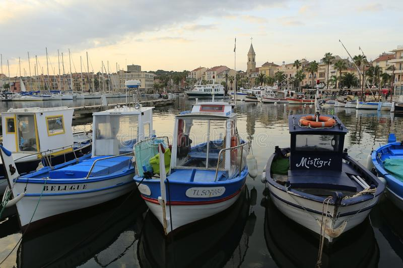 The harbor of Sanary sur Mer. In Provence in the french Riviera in the south of France royalty free stock photos