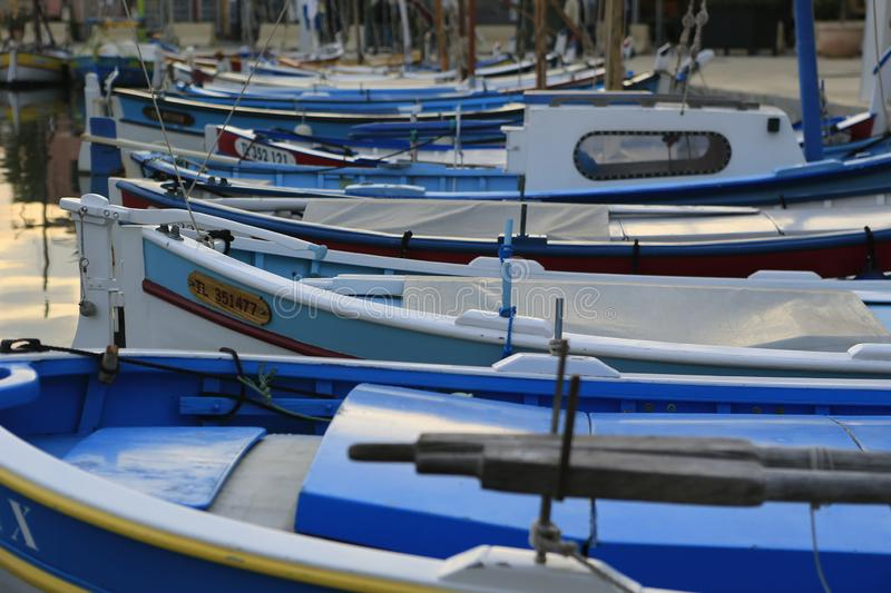 The harbor of Sanary sur Mer. In Provence in the french Riviera in the south of France royalty free stock image