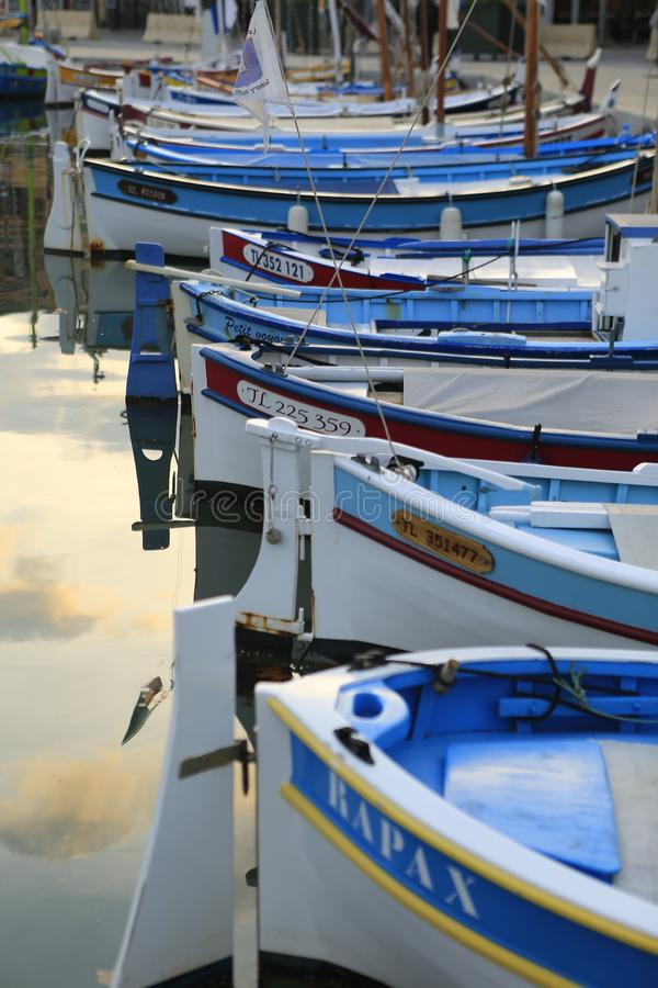 The harbor of Sanary sur Mer. In Provence in the french Riviera in the south of France stock photo