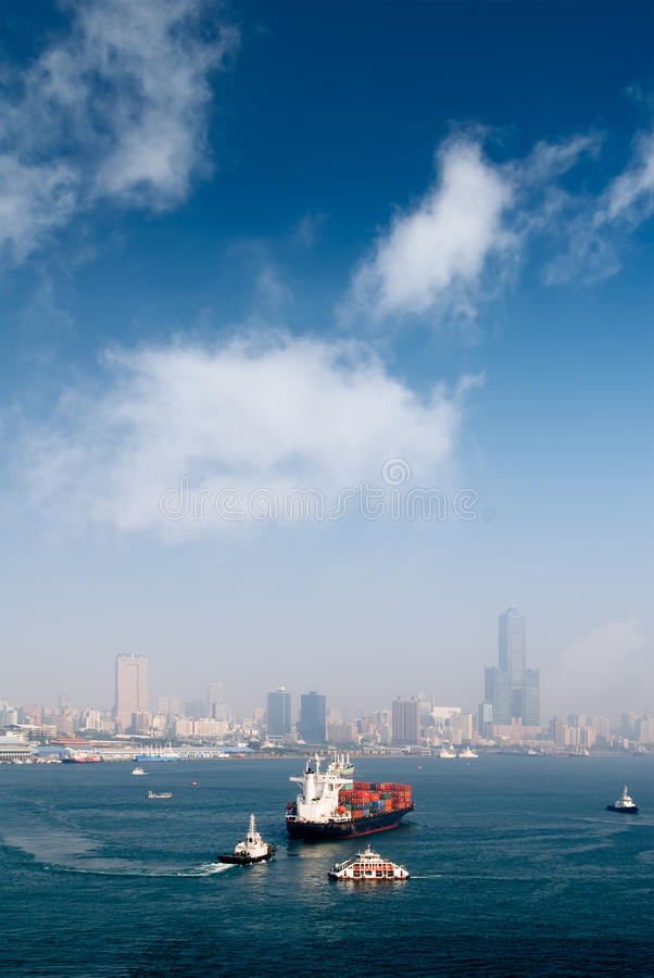 Harbor scenery with freighter stock image