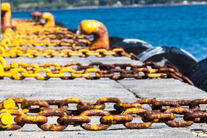 Harbor, sea holidays. Chains royalty free stock photos