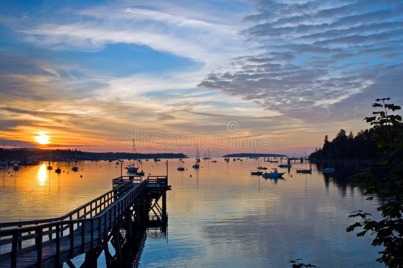 Harbor at sunrise royalty free stock photos