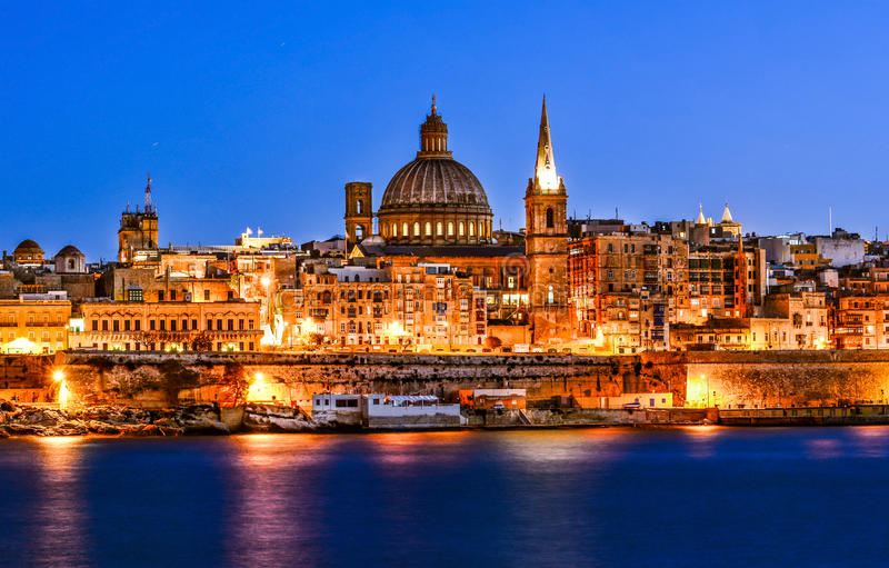Harbor in Valletta stock photography