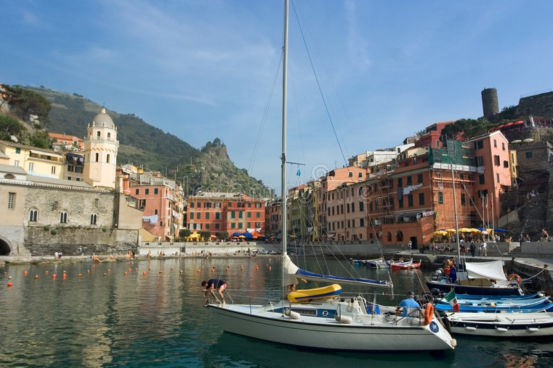 Harbor in vernazza royalty free stock images