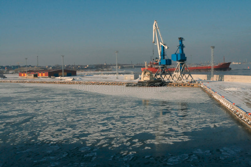 Harbor in winter stock images