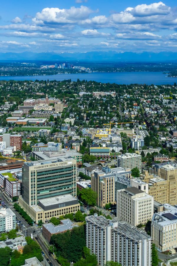 Harborview medical center. Aerial view of Yesler Terrace, Squire Park, Atlantic district and the Harborview medical center in Seattle stock photo