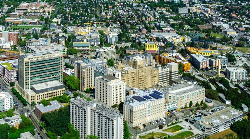 Harborview medical center. Aerial view of Yesler Terrace and Squire Park district and the Harborview medical center in Seattle royalty free stock photography