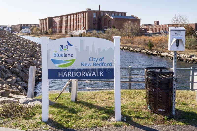 Harborwalk section of New Bedford Blue Lane pedestrian trail, which follows the Acushnet River shoreline. New Bedford, Massachusetts, USA - November 13, 2019 royalty free stock photos