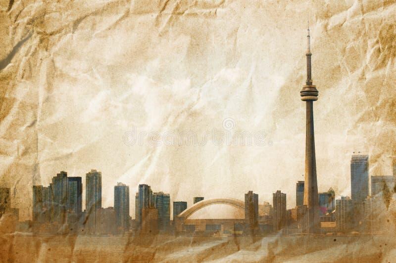 Harbour. Toronto CN Tower on old vintage paper vector illustration