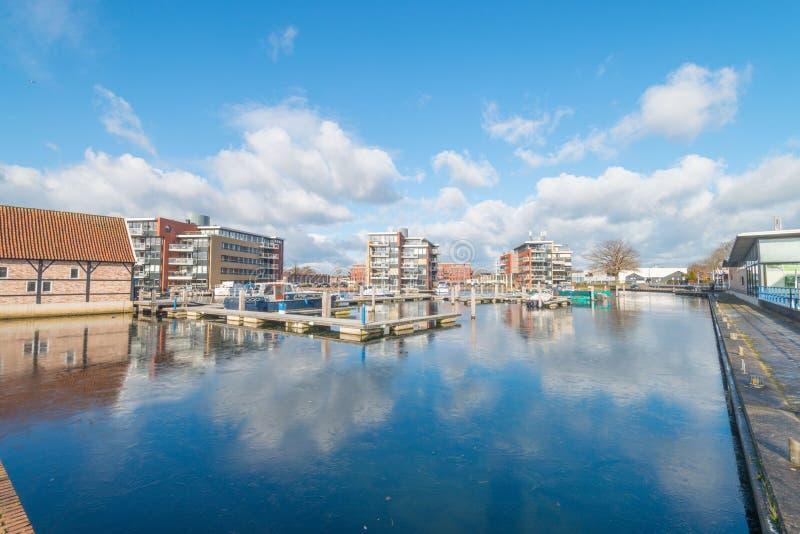 Harbour Almelo in winter. Twente, Overijssel, the Netherlands stock photography