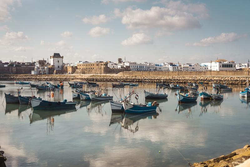 The harbour of Assilah, Morocco stock images