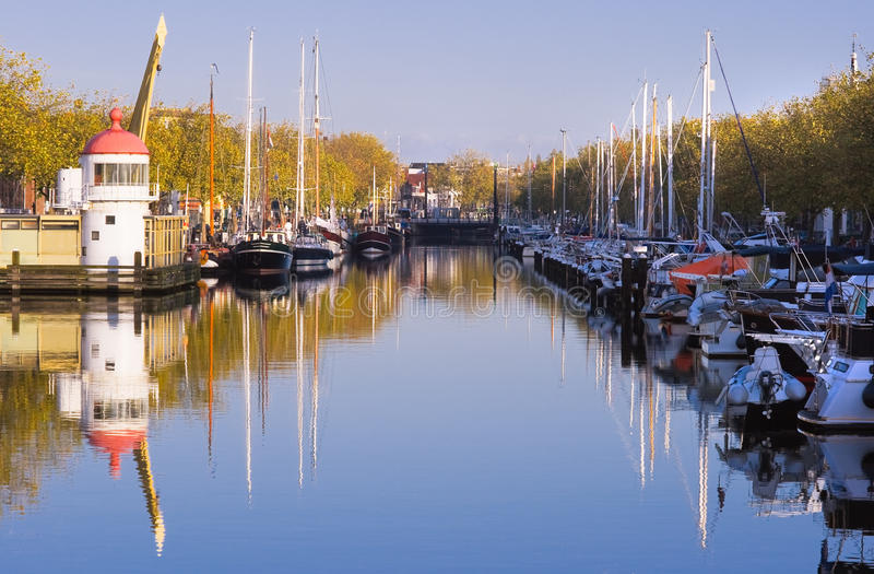 Download Harbour On Autumn Morning With Blue Sky Stock Photo - Image: 12504068