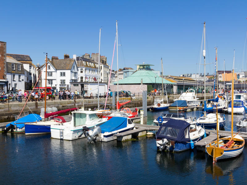 Harbour at the Barbican Plymouth. Sunny day at the harbour in the Barbican area of Plymouth Devon England UK royalty free stock photography