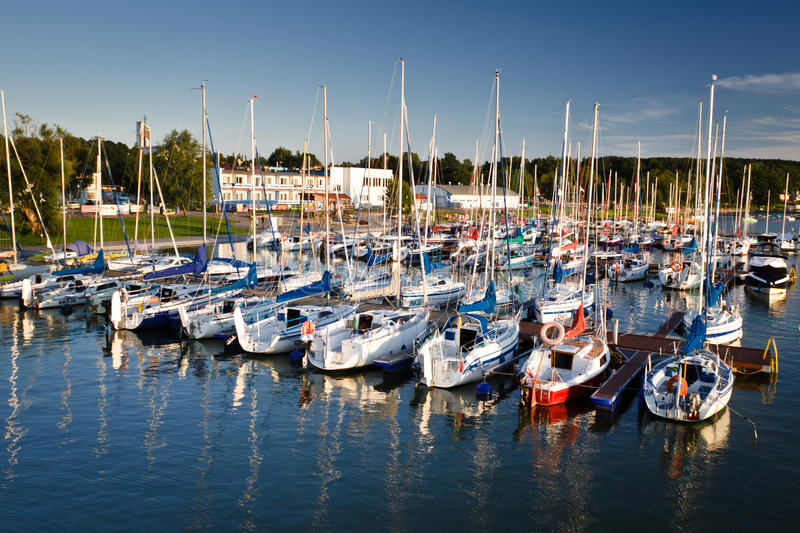Harbour with boats in the lake royalty free stock images