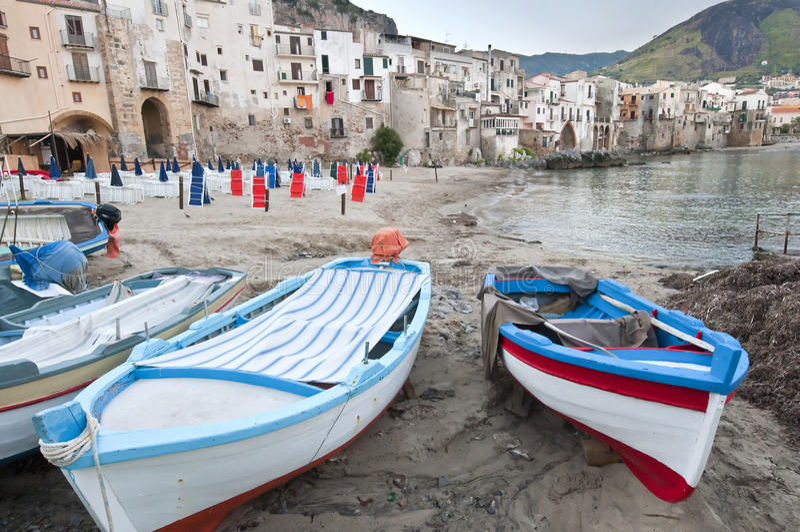 Cefalu old city, Sicily stock image