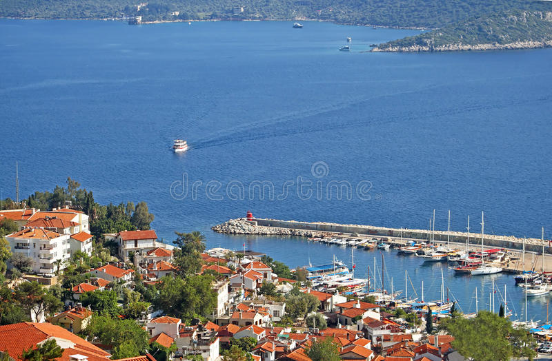 Harbour of city Kas (Kash) in Turkey stock photo