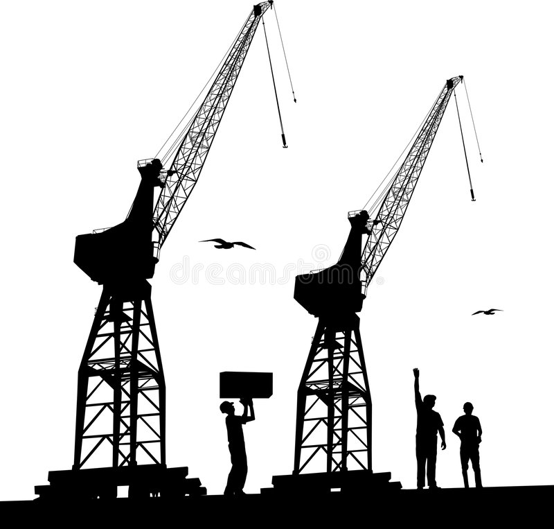 Download Harbour cranes stock vector. Image of infrastructure, container - 6580176