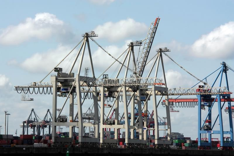Download Harbour cranes stock photo. Image of transport, container - 9406090