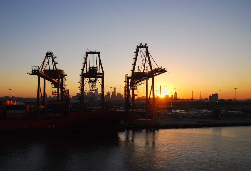 Harbour Cranes at Sunrise stock photos