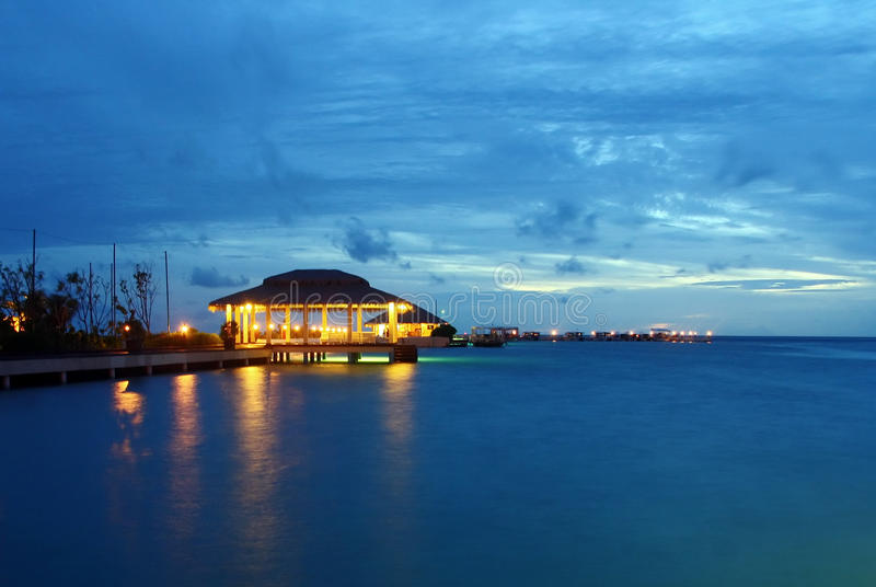 Harbour after dusk royalty free stock photos