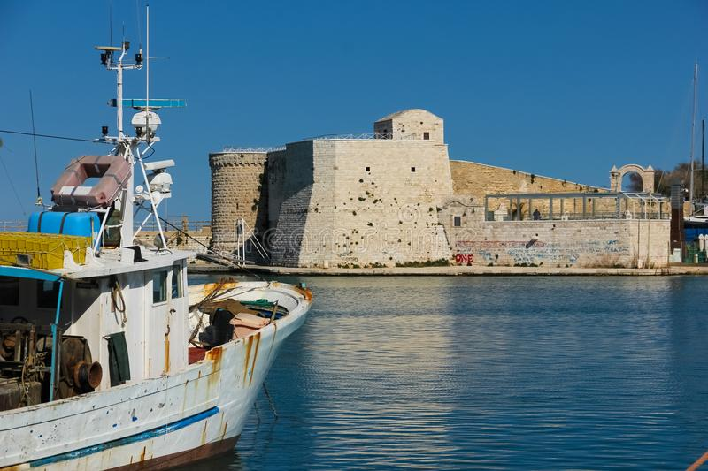 Harbour fort. Trani. Apulia. Italy stock image