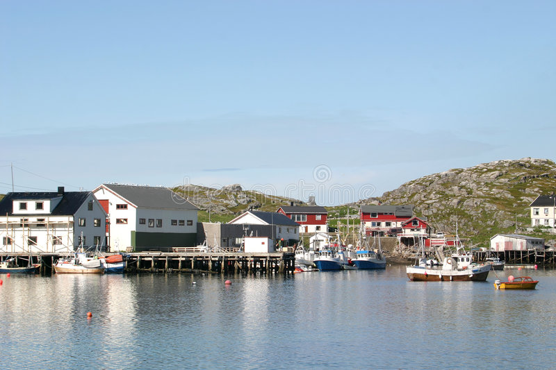 Harbour of Gjesvaer in Norway stock photography