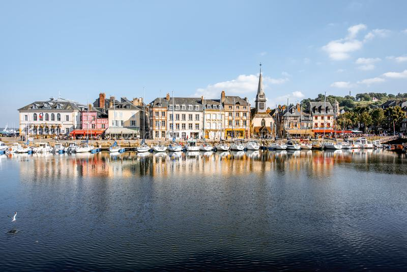 Harbour in Honfleur town, France stock photos