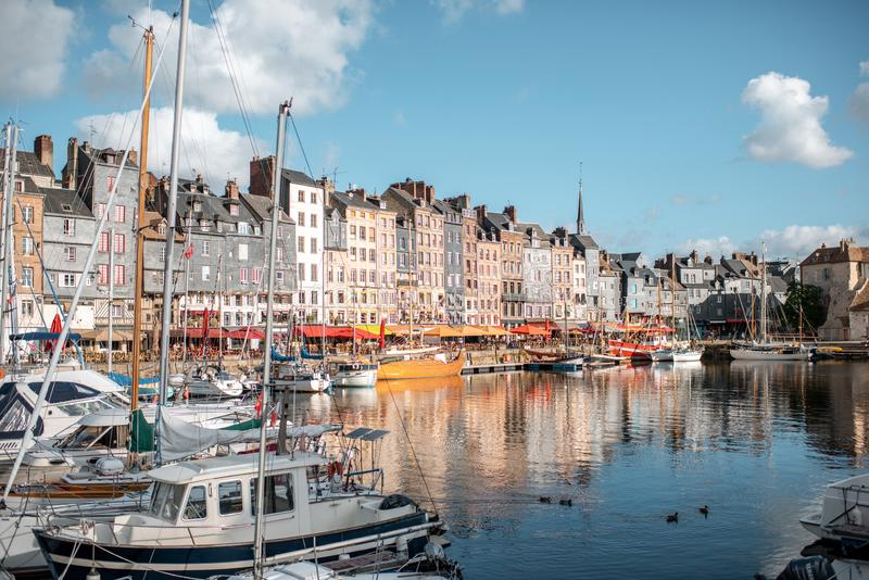 Harbour in Honfleur town, France royalty free stock image