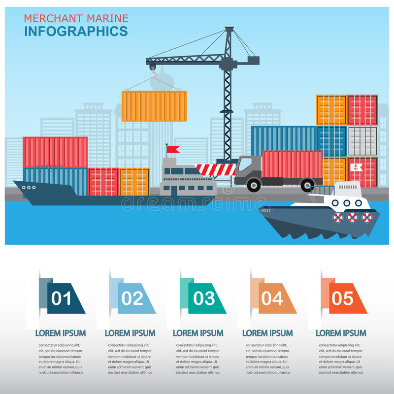 Free Harbour Infographics Royalty Free Stock Photo - 56337085