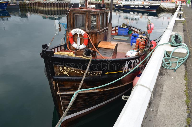 Harbour and inshore fishing fleet in Kirkwall, Mainland island, Orkney Scotland. Kirkwall is the largest settlement and capital of Orkney, an archipelago in the stock image