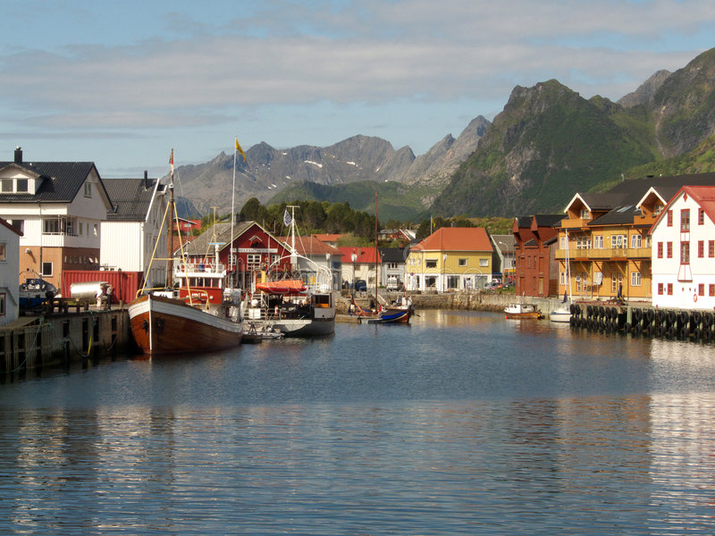 The harbour of Kabelvoag in Lofoten stock photo