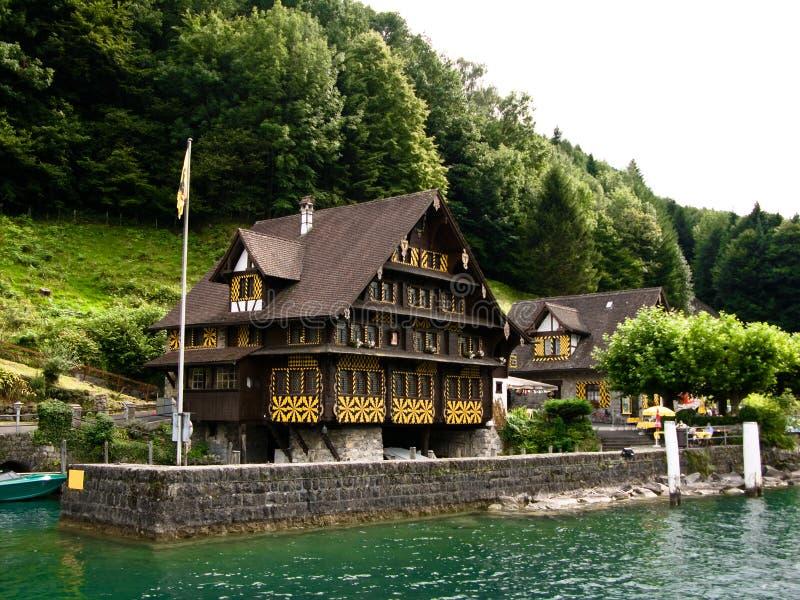 Harbour on Luzern lake (Switzerland) royalty free stock photos