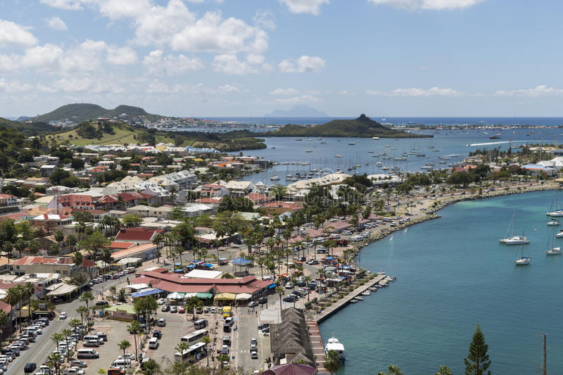 Harbour of Marigot, St. Martin royalty free stock image
