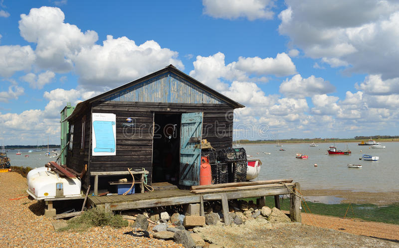 The harbour masters hut at Felixstowe Ferry royalty free stock images