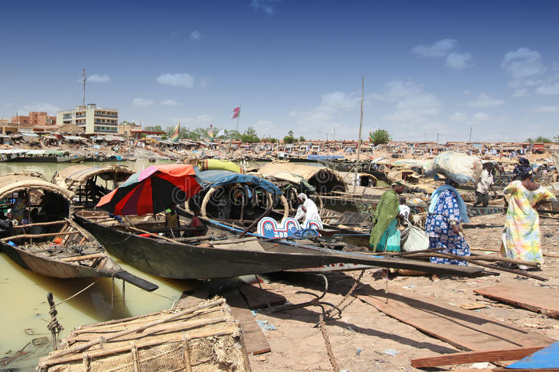 Harbour of Mopti, Mali royalty free stock photography
