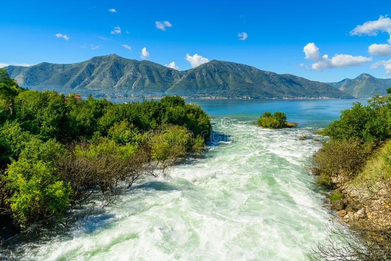 Harbour and mountain river at Boka Kotor bay (Boka Kotorska), Montenegro stock images