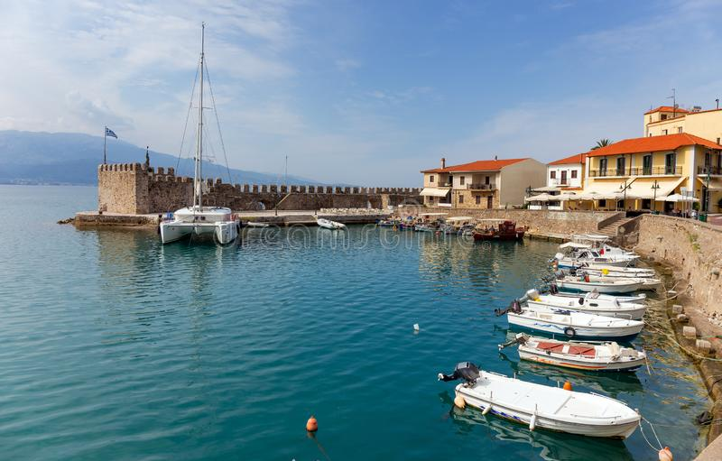 The harbour of Nafpaktos town, Greece. Nafpaktos known as Lepanto during part of its history, is a town and a former municipality in Aetolia Akarnania, West stock image
