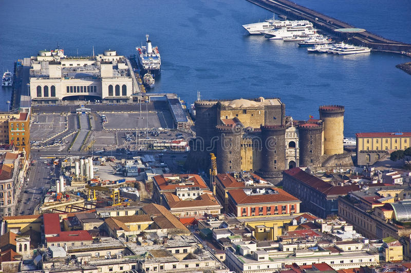 The harbour of Naples. Wit the castle, Italy royalty free stock image