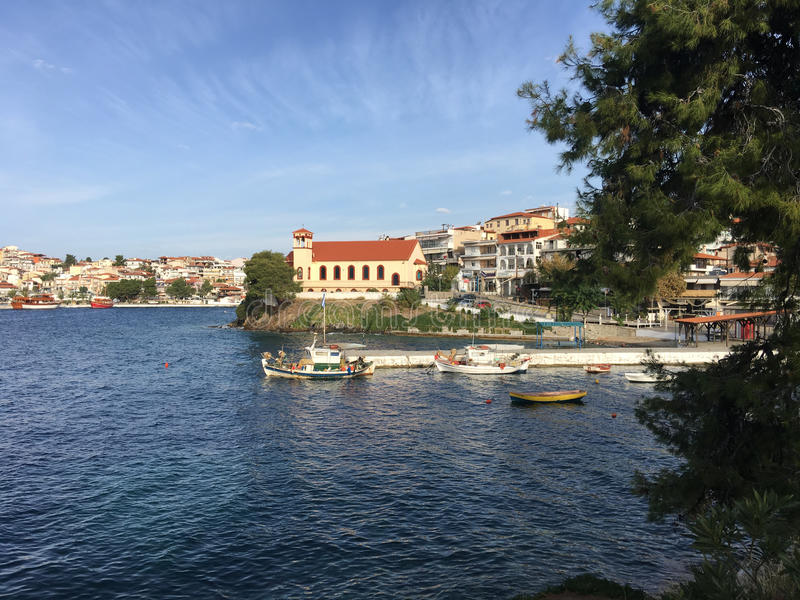 Harbour of Neos Marmaras. In Greece royalty free stock photography