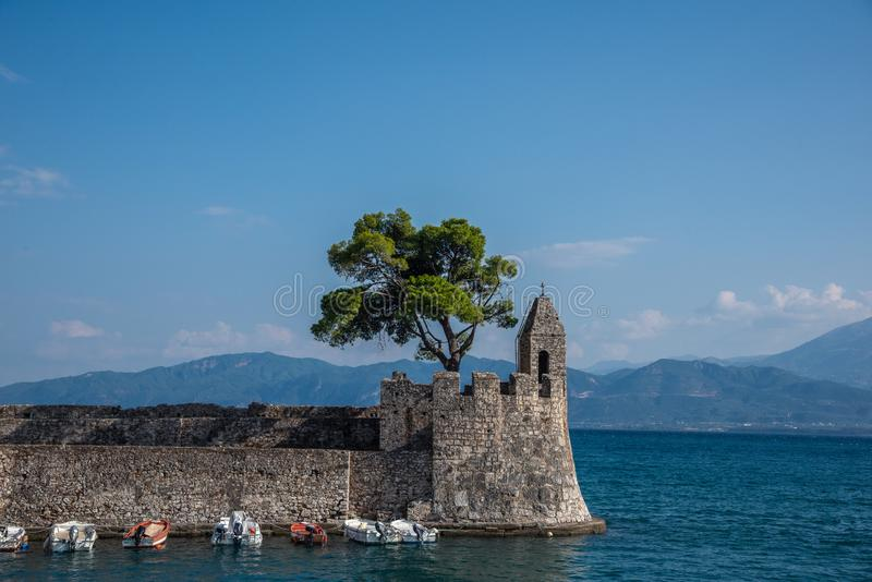 Picturesque city of Nafpaktos, Mainland Greece. Harbour of picturesque city Nafpaktos, Mainland Greece stock photos