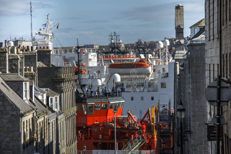 Harbour seen from Marischal Street. Aberdeen, Scotland, UK royalty free stock image