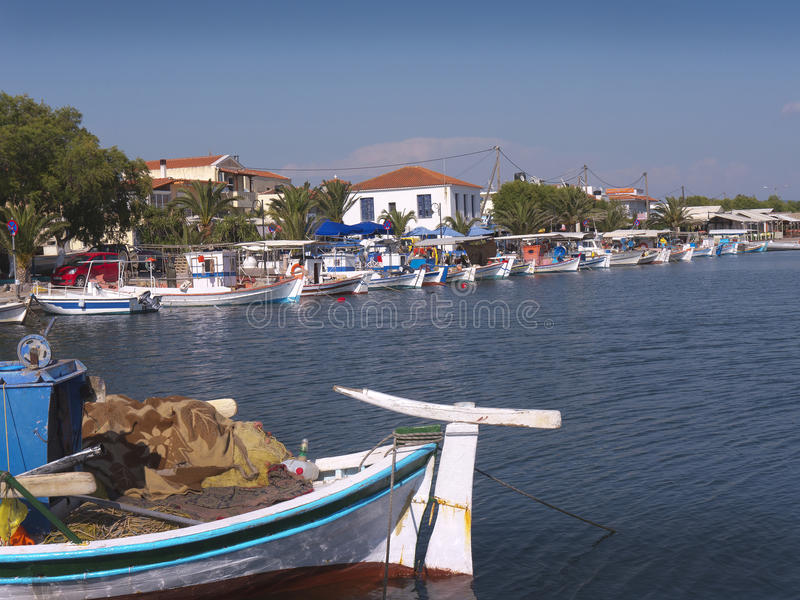 Harbour in Skala Kalloni on the island of Lesvos Greece. The Greek Island of Lesvos or Lesbos is situated just off the Coast of Turkey. The island is the 3rd royalty free stock image