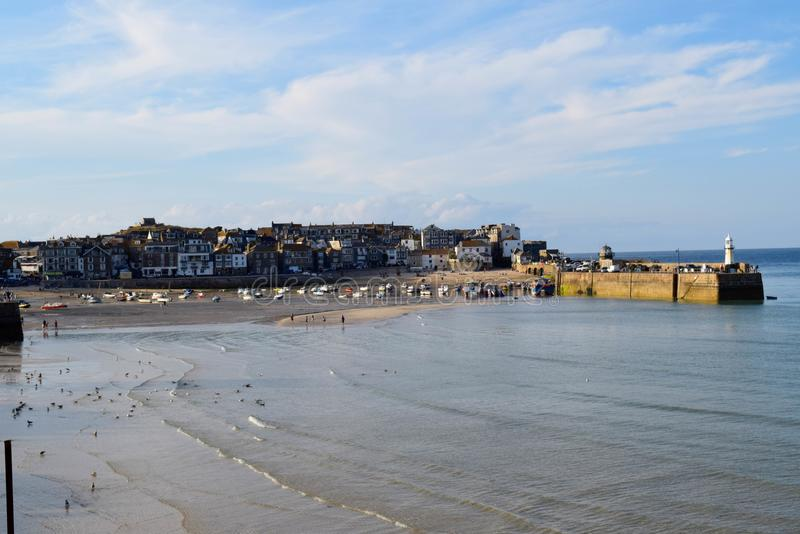 The harbour at St Ives, Cornwall, UK. On a sunny evening stock photos