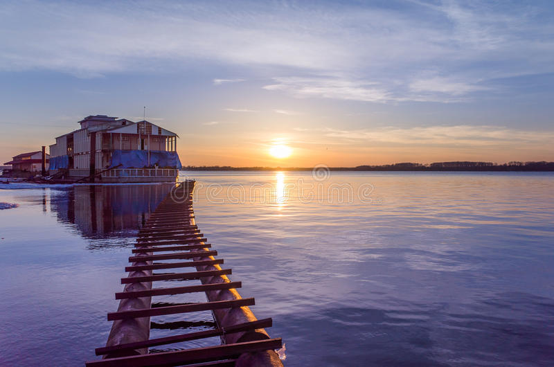 Harbour at sunset royalty free stock images
