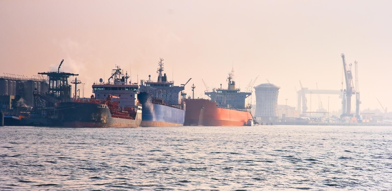 Harbour With Tankers Stock Photo