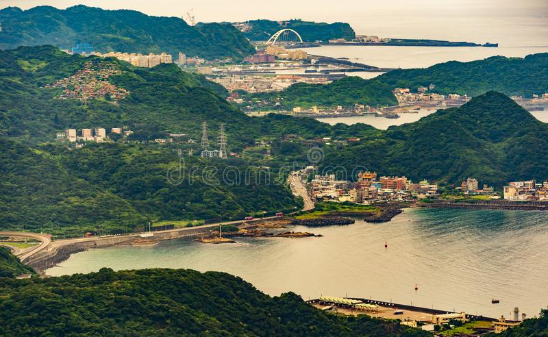 Harbour to east china sea, view from Jiufen, Taiwan. Harbour to the east china sea, view from Jiufen, Taiwan stock photo
