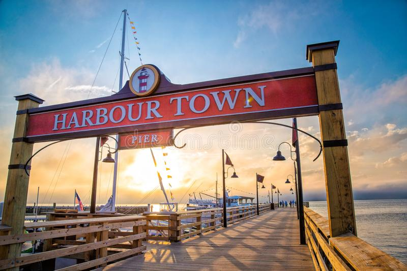 Harbour Town Pier in Hilton Head South Carolina at sunset royalty free stock images