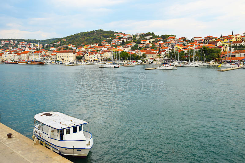 Harbour in Trogir, Croatia, Trogir is a historic UNESCO town and royalty free stock images